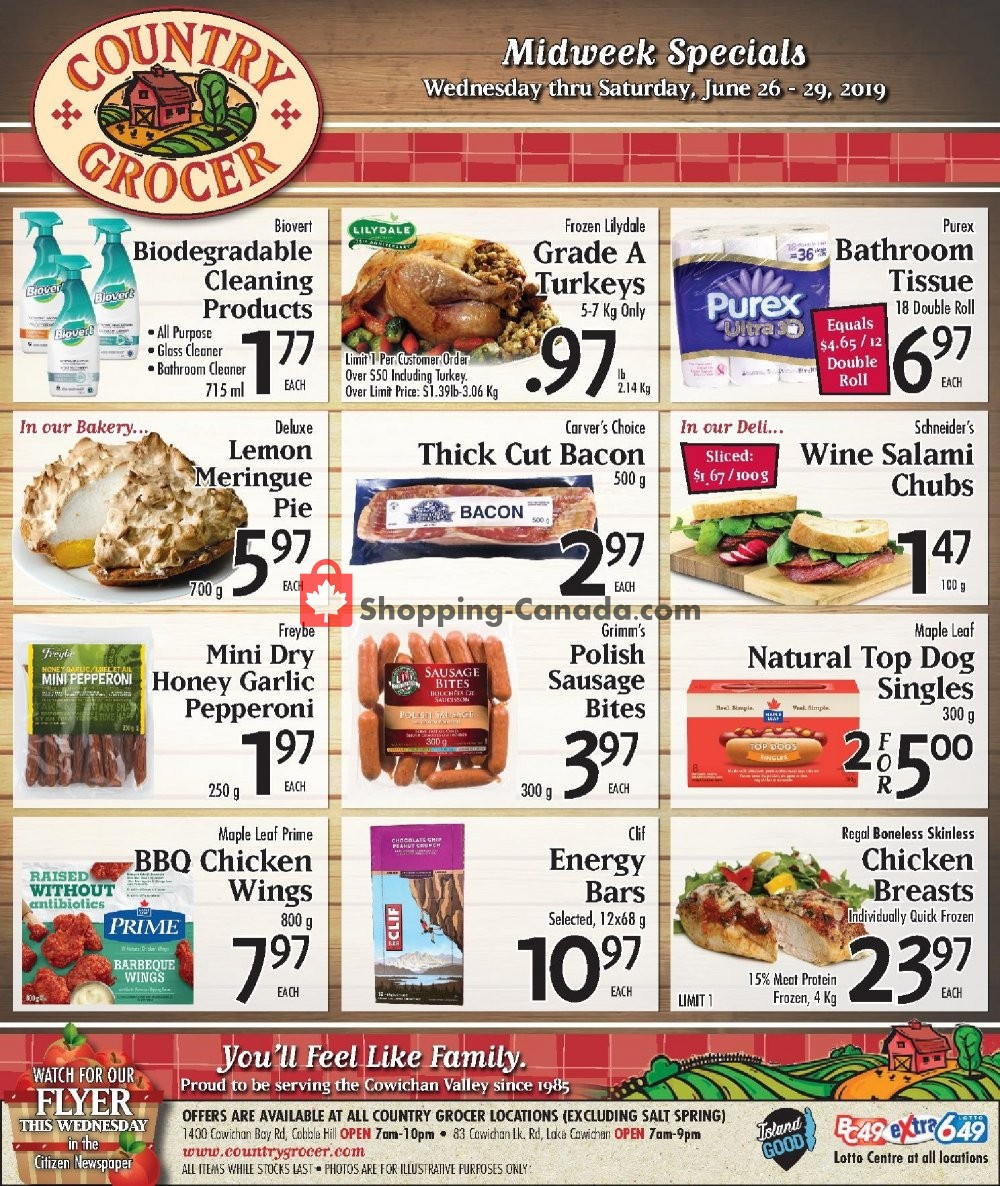 Flyer Country Grocer Canada - from Wednesday June 26, 2019 to Saturday June 29, 2019