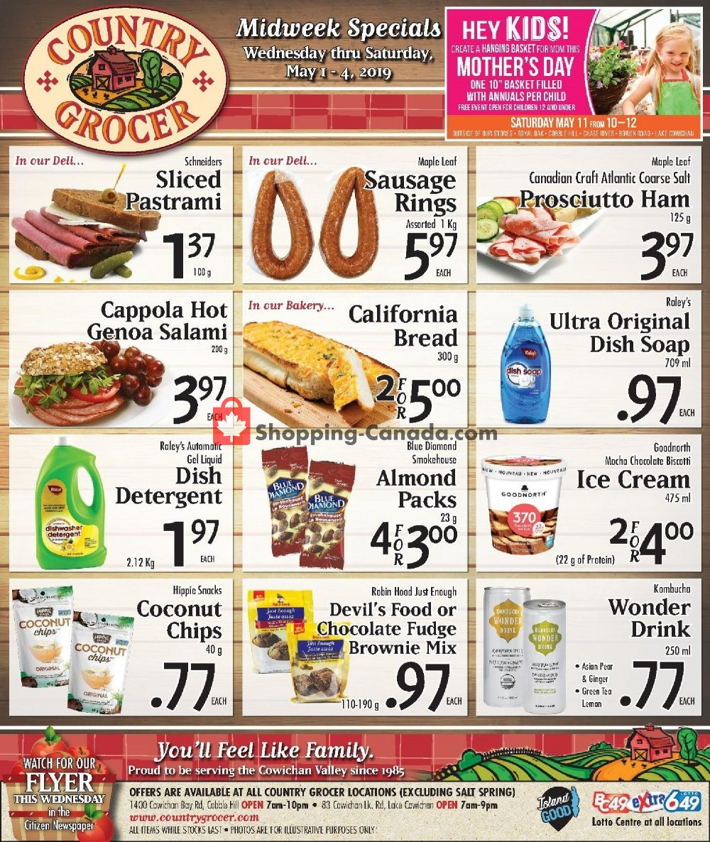 Flyer Country Grocer Canada - from Wednesday May 1, 2019 to Saturday May 4, 2019
