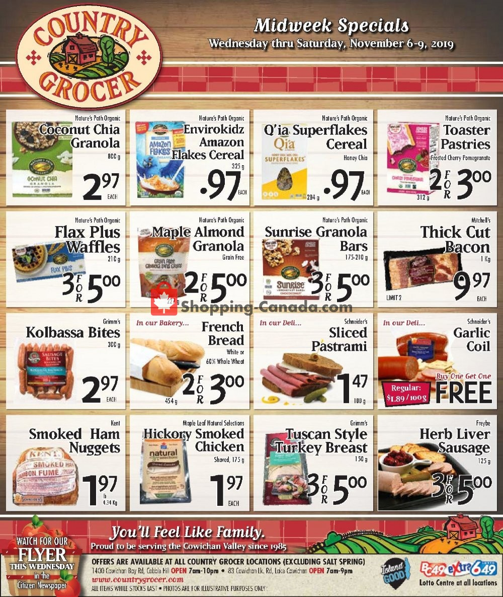 Flyer Country Grocer Canada - from Wednesday November 6, 2019 to Saturday November 9, 2019