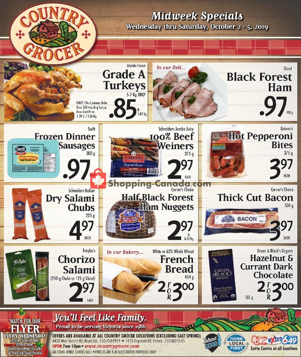 Flyer Country Grocer Canada - from Wednesday October 2, 2019 to Saturday October 5, 2019