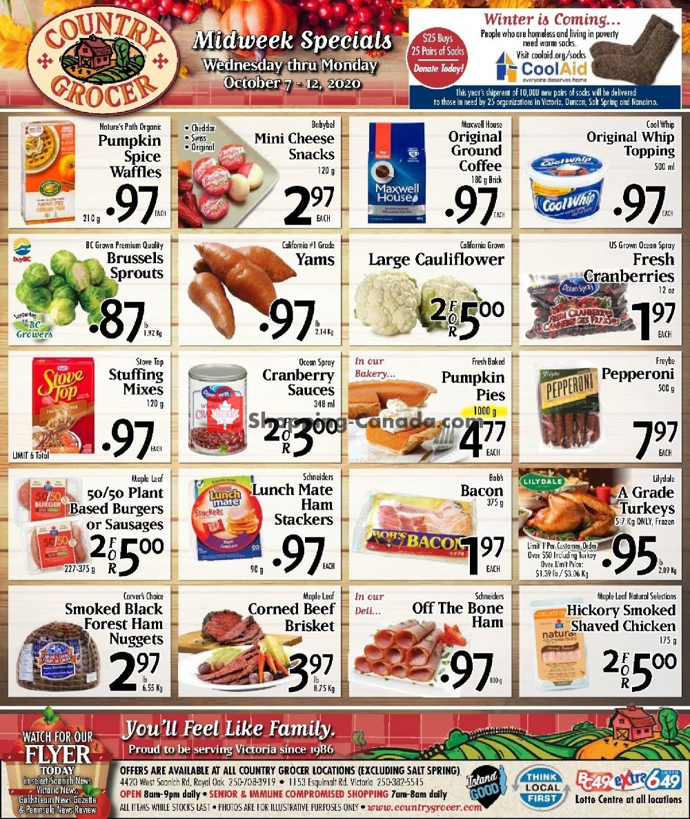 Flyer Country Grocer Canada - from Wednesday October 7, 2020 to Monday October 12, 2020