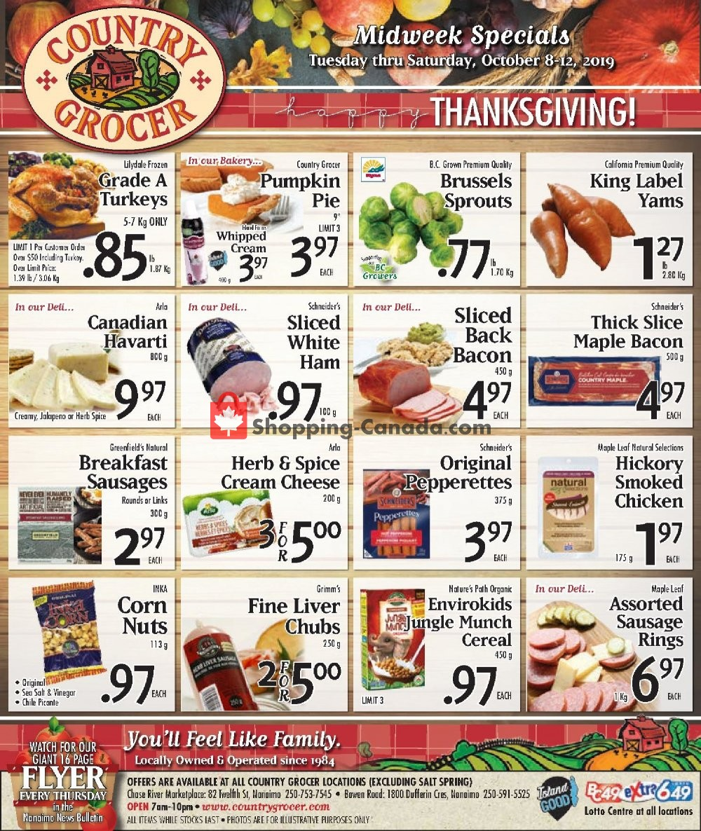 Flyer Country Grocer Canada - from Tuesday October 8, 2019 to Saturday October 12, 2019