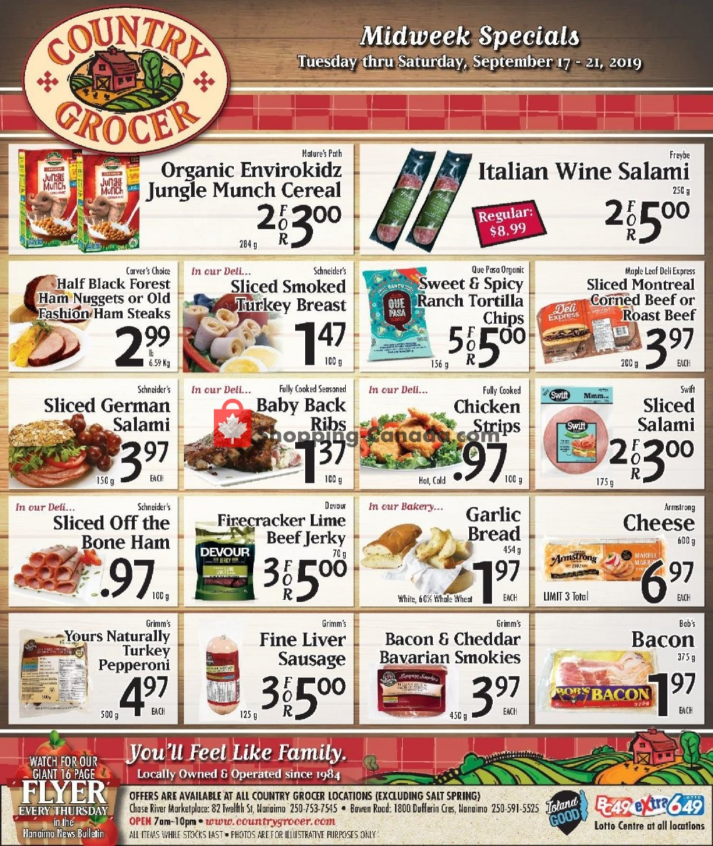 Flyer Country Grocer Canada - from Tuesday September 17, 2019 to Saturday September 21, 2019