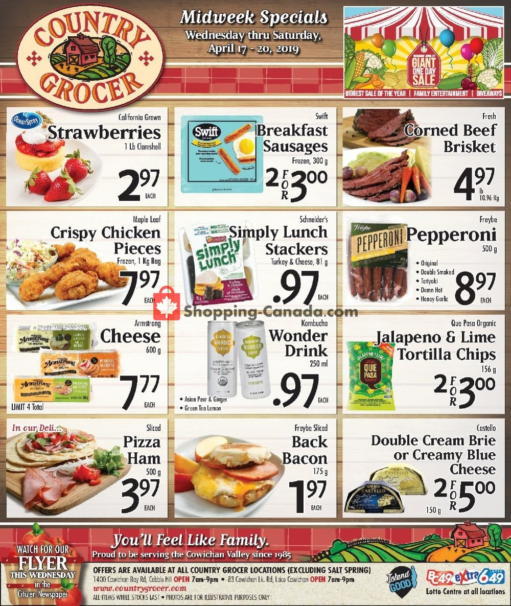 Flyer Country Grocer Canada - from Wednesday April 17, 2019 to Saturday April 20, 2019