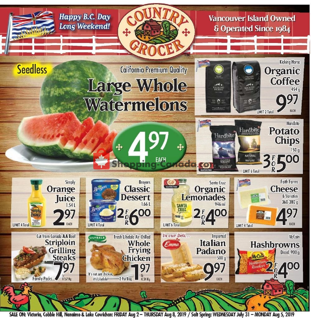 Flyer Country Grocer Canada - from Friday August 2, 2019 to Thursday August 8, 2019