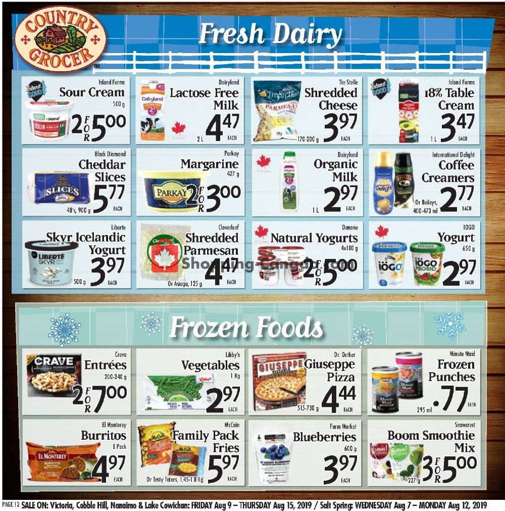 Flyer Country Grocer Canada - from Friday August 9, 2019 to Thursday August 15, 2019