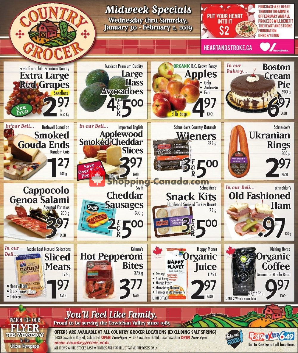 Flyer Country Grocer Canada - from Wednesday January 30, 2019 to Saturday February 2, 2019