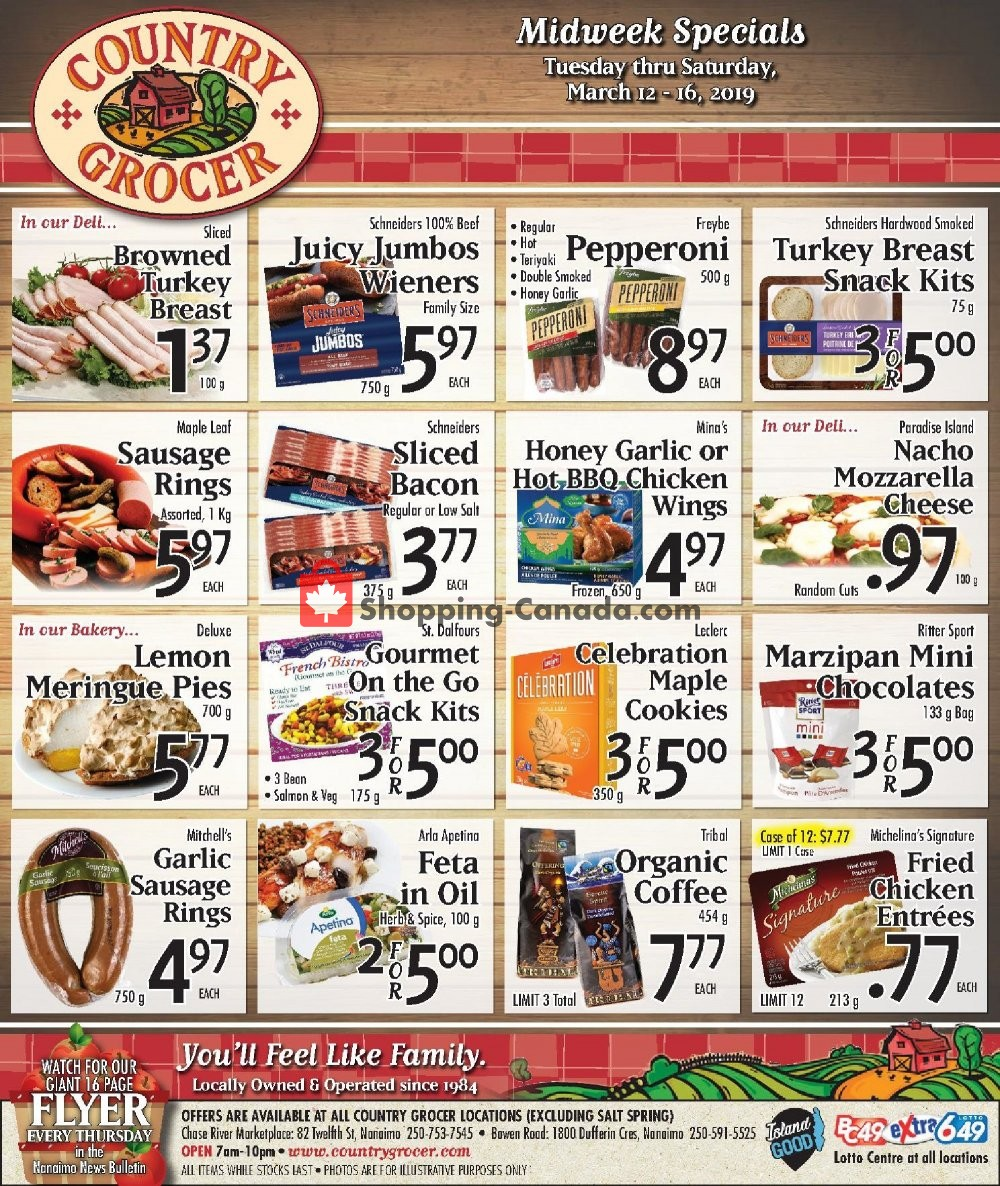 Flyer Country Grocer Canada - from Tuesday March 12, 2019 to Saturday March 16, 2019