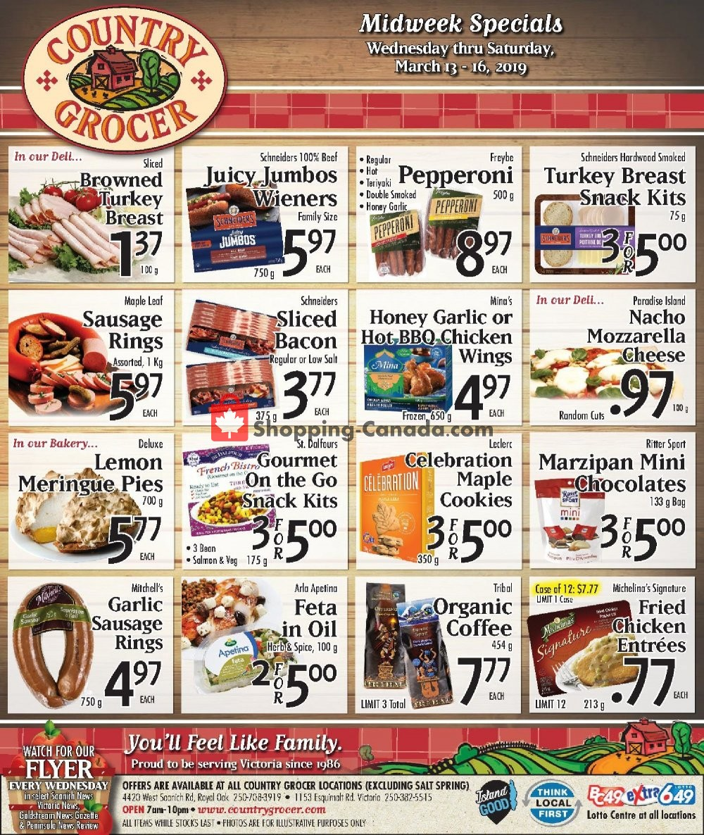 Flyer Country Grocer Canada - from Wednesday March 13, 2019 to Saturday March 16, 2019