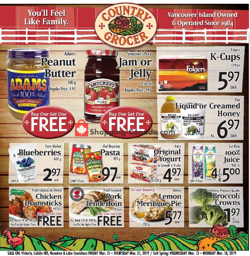 Flyer Country Grocer Canada - from Friday March 15, 2019 to Thursday March 21, 2019