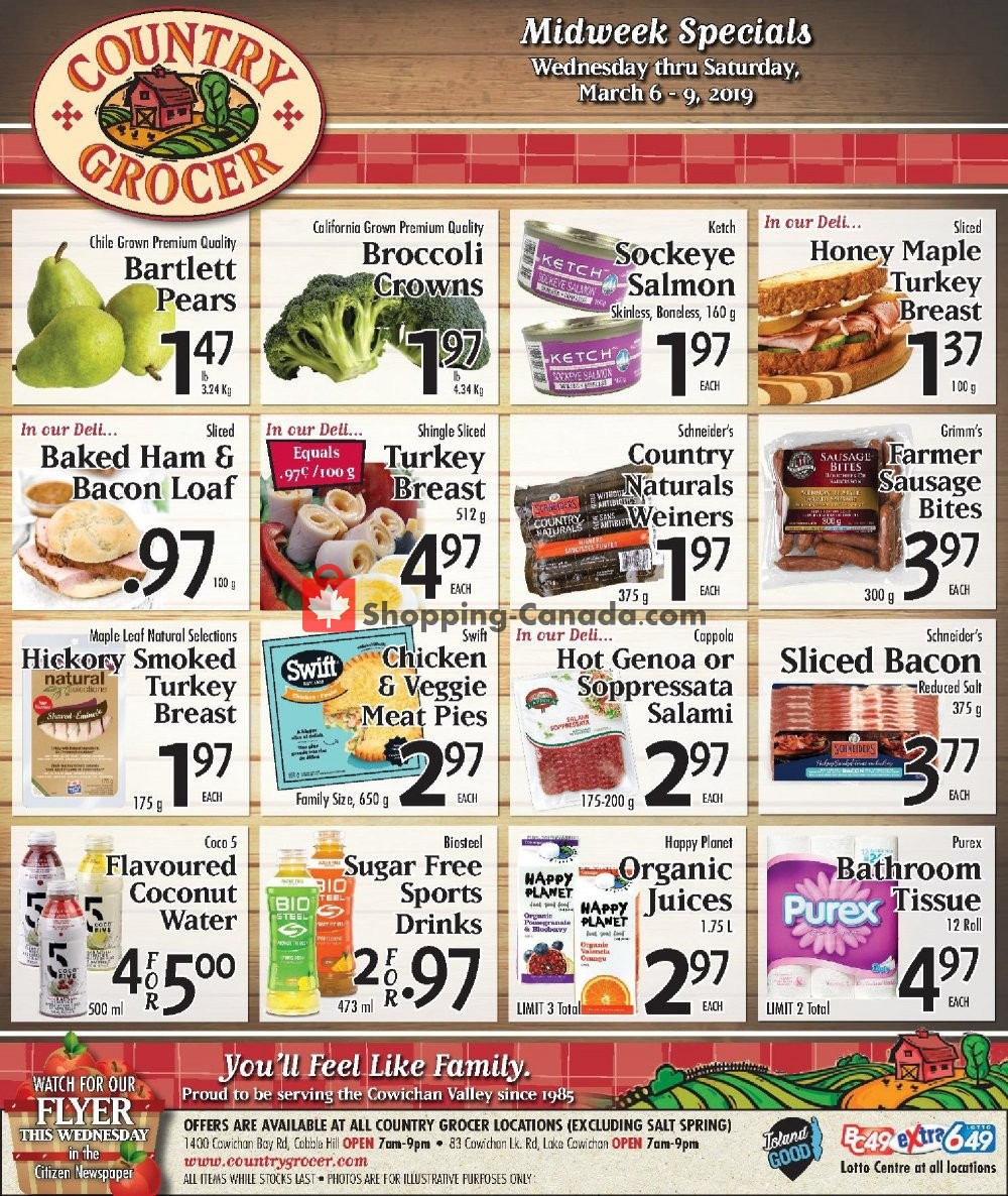 Flyer Country Grocer Canada - from Wednesday March 6, 2019 to Saturday March 9, 2019