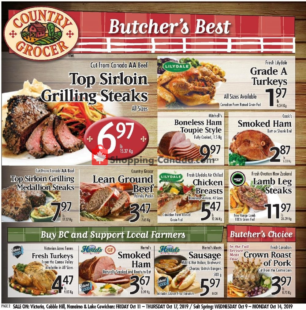 Flyer Country Grocer Canada - from Friday October 11, 2019 to Thursday October 17, 2019