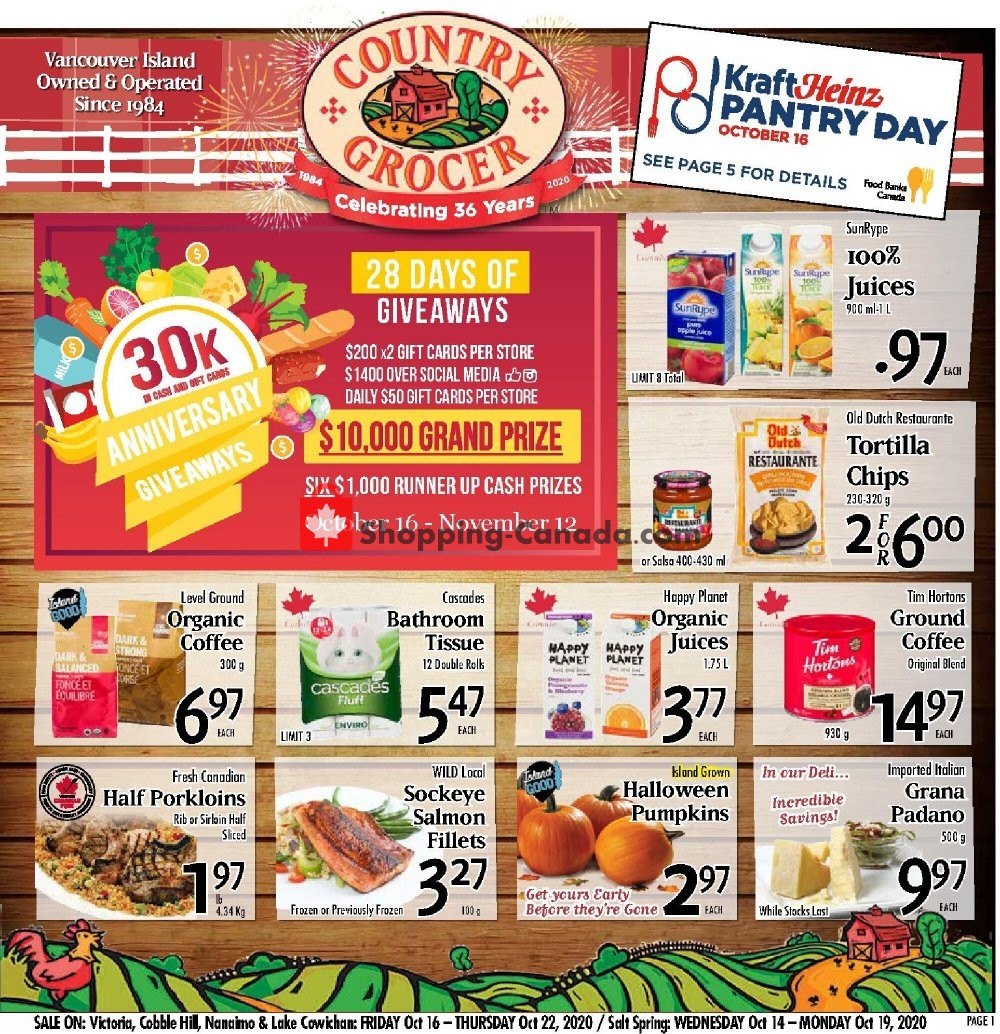 Flyer Country Grocer Canada - from Friday October 16, 2020 to Thursday October 22, 2020