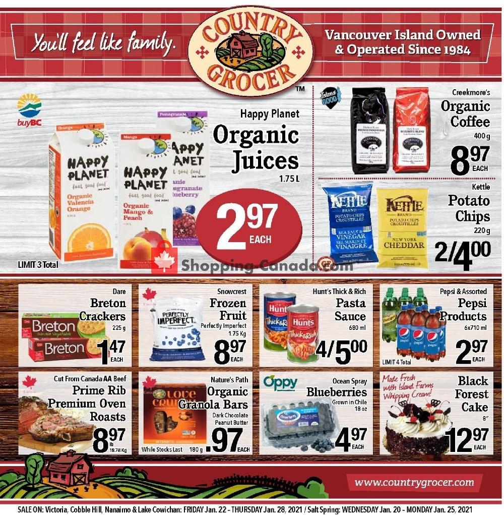 Flyer Country Grocer Canada - from Friday January 22, 2021 to Thursday January 28, 2021