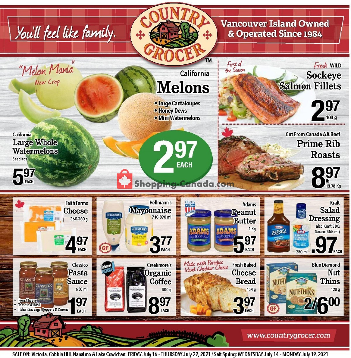 Flyer Country Grocer Canada - from Friday July 16, 2021 to Thursday July 22, 2021