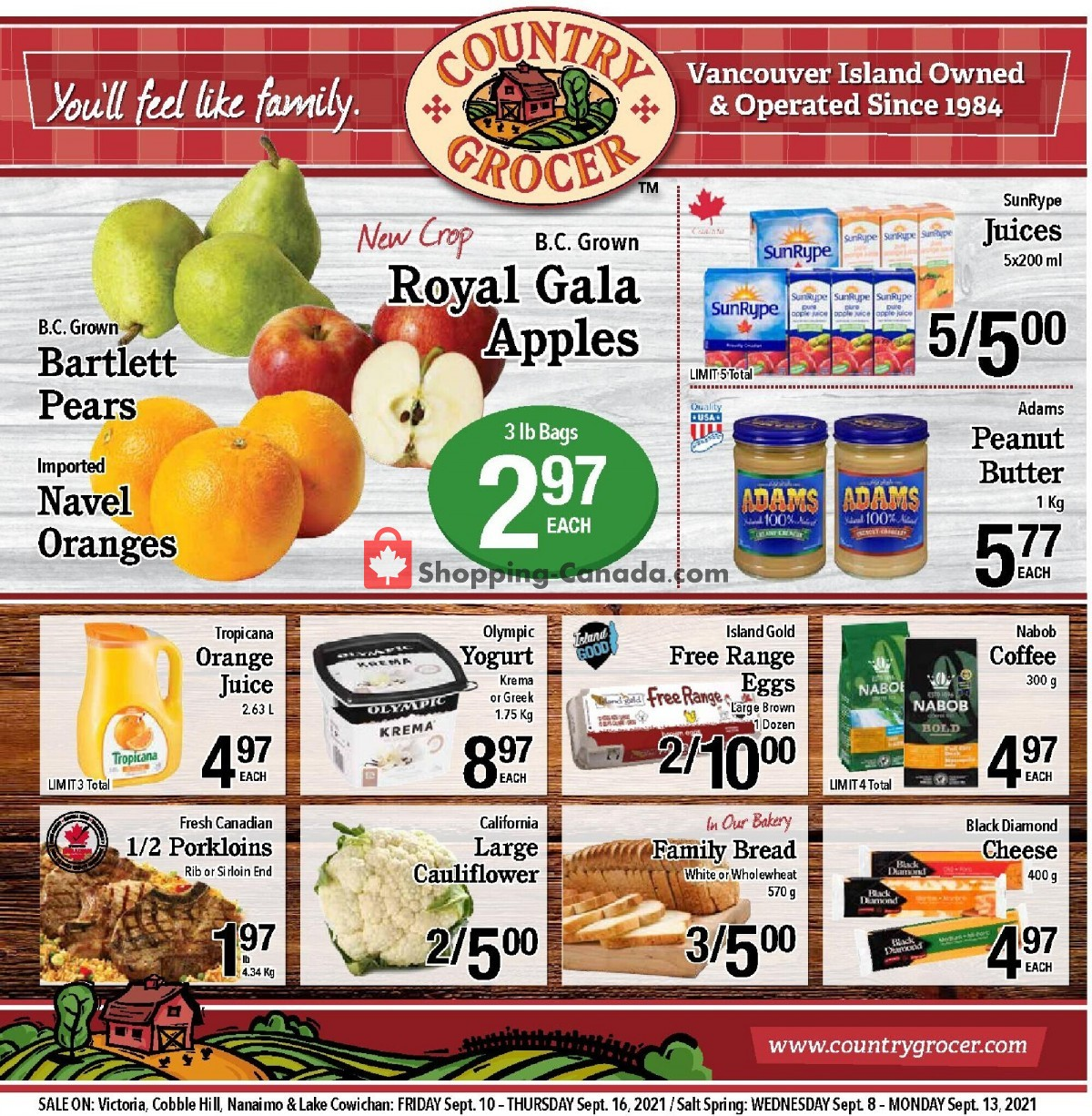 Flyer Country Grocer Canada - from Friday September 10, 2021 to Thursday September 16, 2021