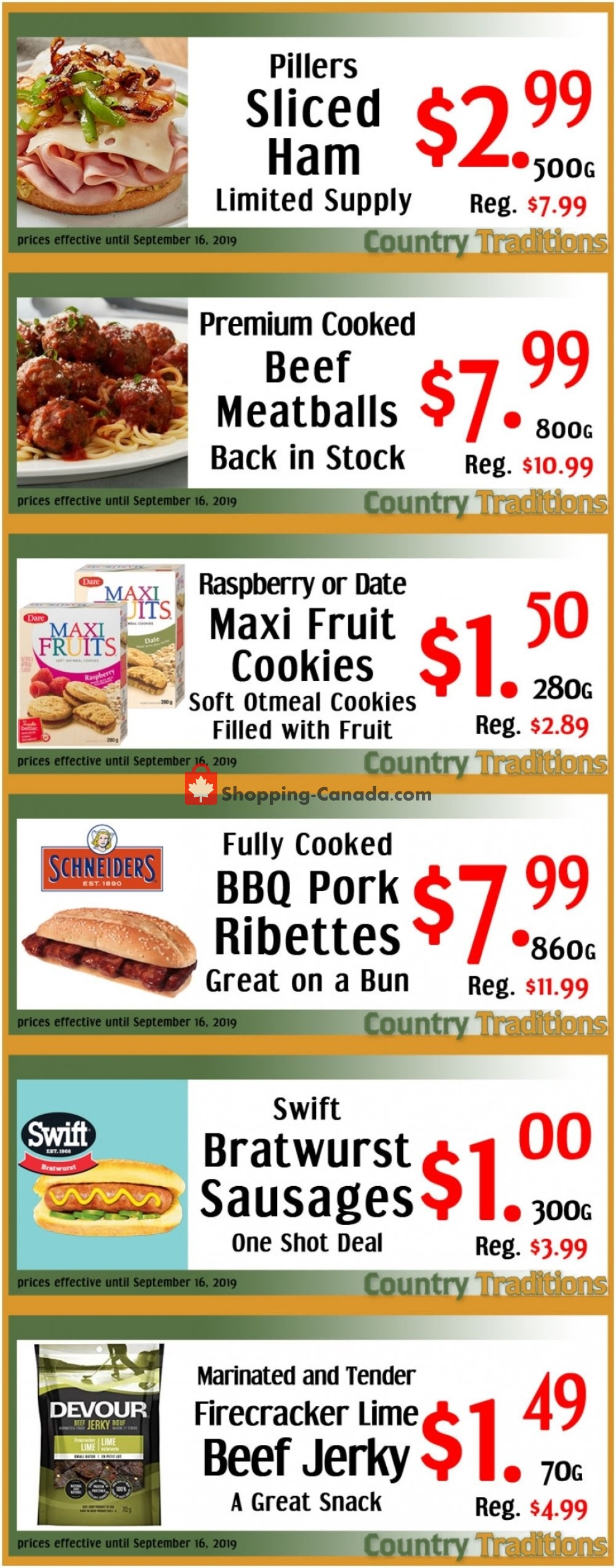 Flyer Country Traditions Canada - from Wednesday September 11, 2019 to Monday September 16, 2019