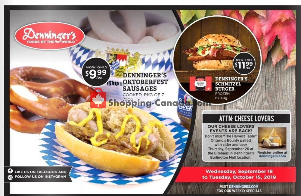 Flyer Denninger's Canada - from Wednesday September 18, 2019 to Tuesday October 15, 2019