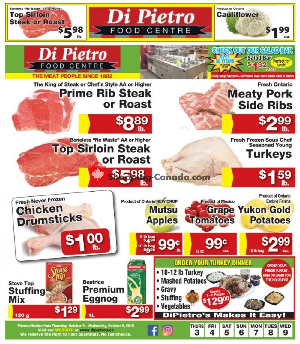 Flyer DiPietro's Canada - from Thursday October 3, 2019 to Wednesday October 9, 2019