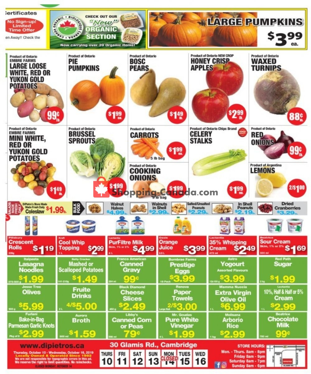 Flyer DiPietro's Canada - from Thursday October 10, 2019 to Wednesday October 16, 2019