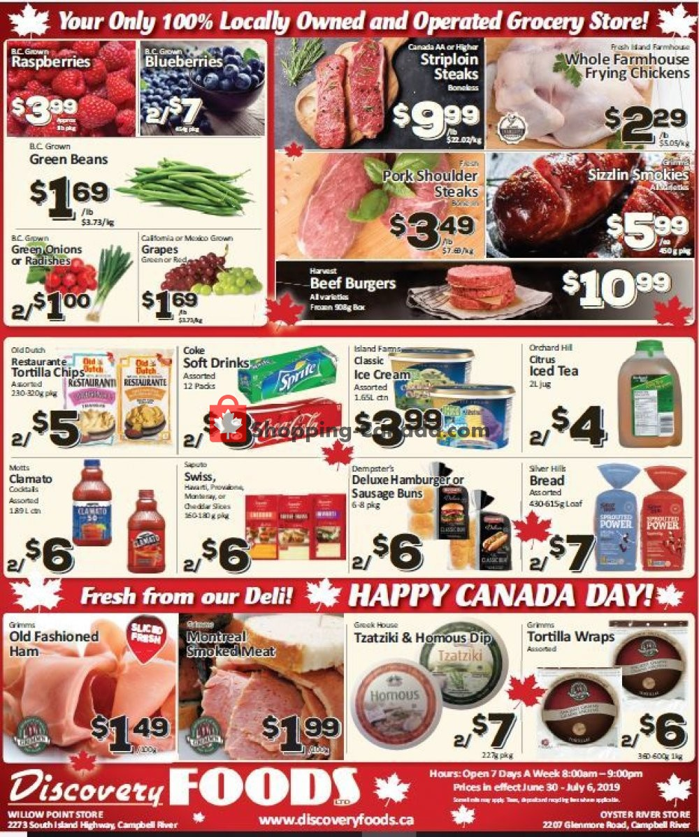 Flyer Discovery Foods Canada - from Sunday June 30, 2019 to Saturday July 6, 2019