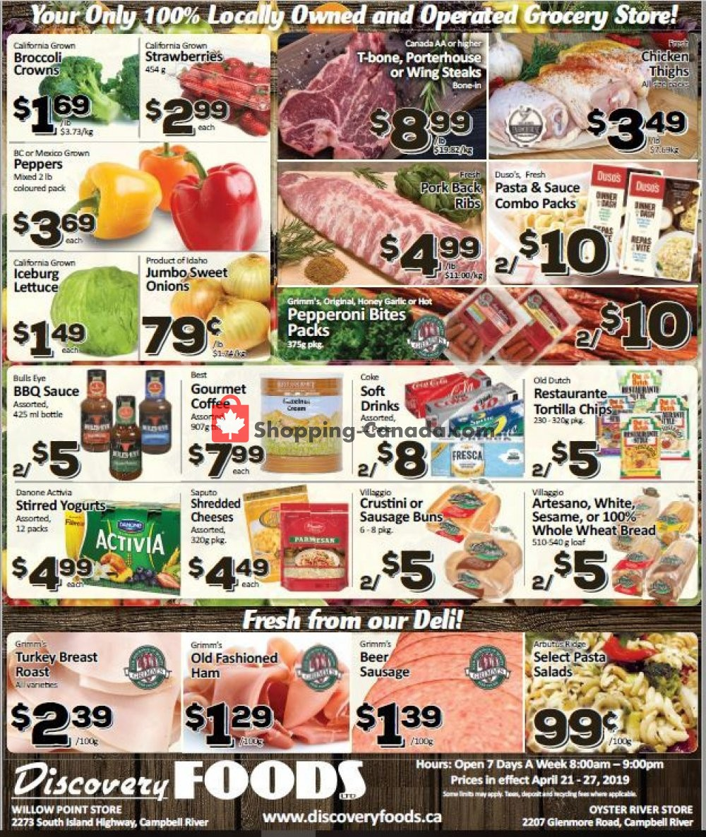 Flyer Discovery Foods Canada - from Sunday April 21, 2019 to Saturday April 27, 2019