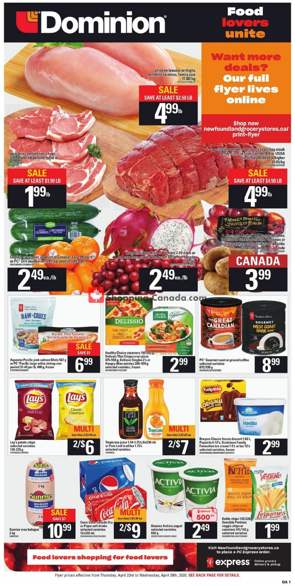 Flyer Dominion Canada - from Thursday April 23, 2020 to Wednesday April 29, 2020