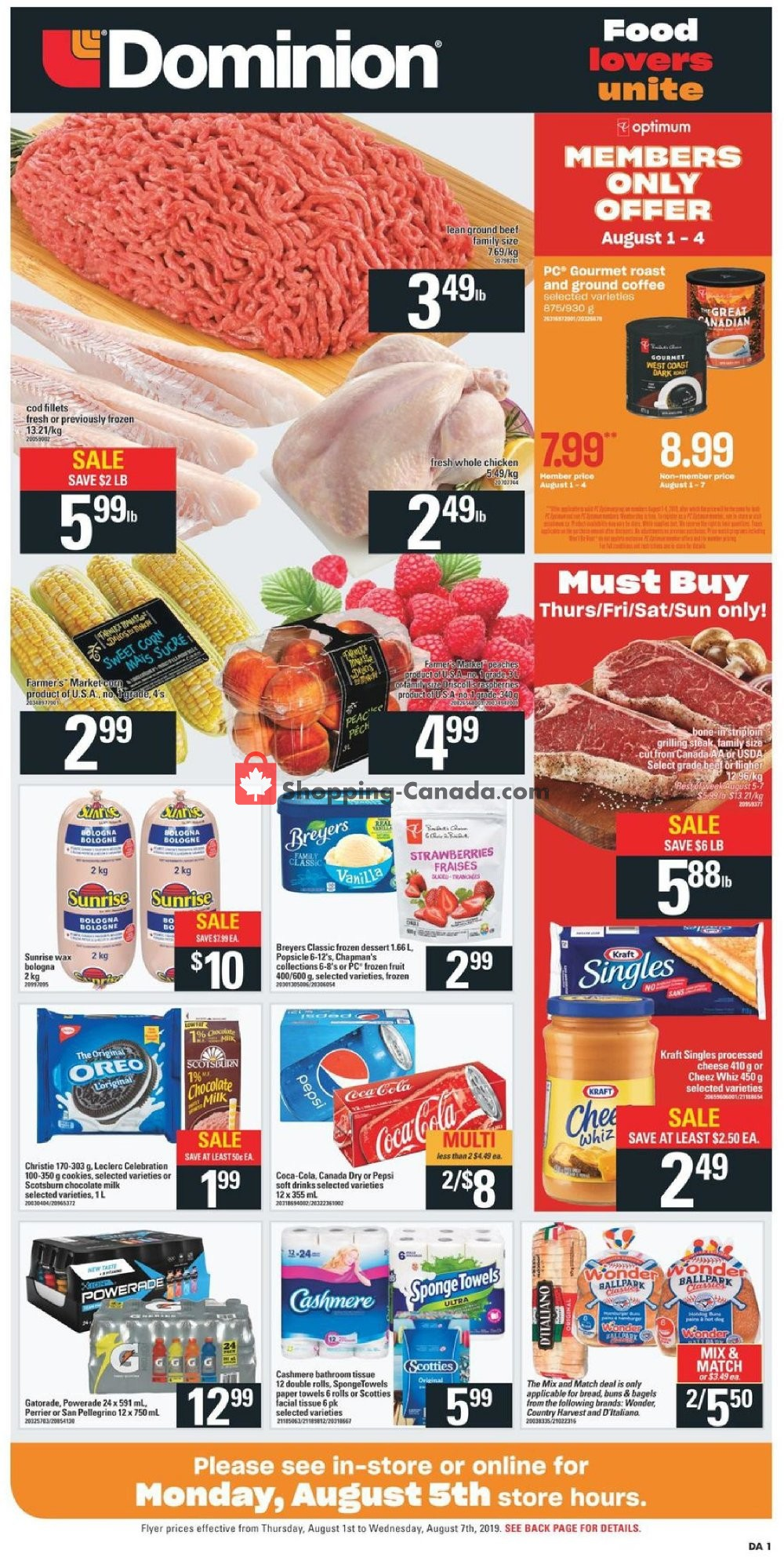 Flyer Dominion Canada - from Thursday August 1, 2019 to Wednesday August 7, 2019
