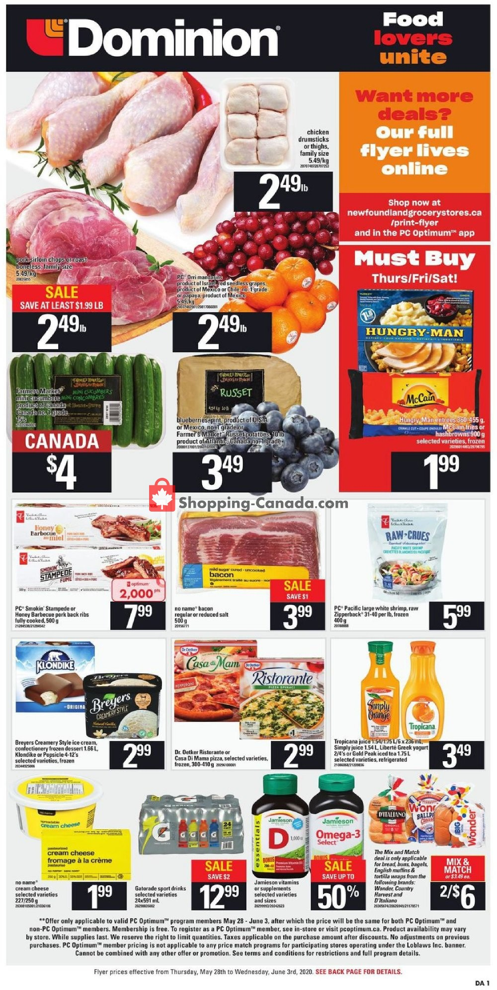 Flyer Dominion Canada - from Thursday May 28, 2020 to Wednesday June 3, 2020