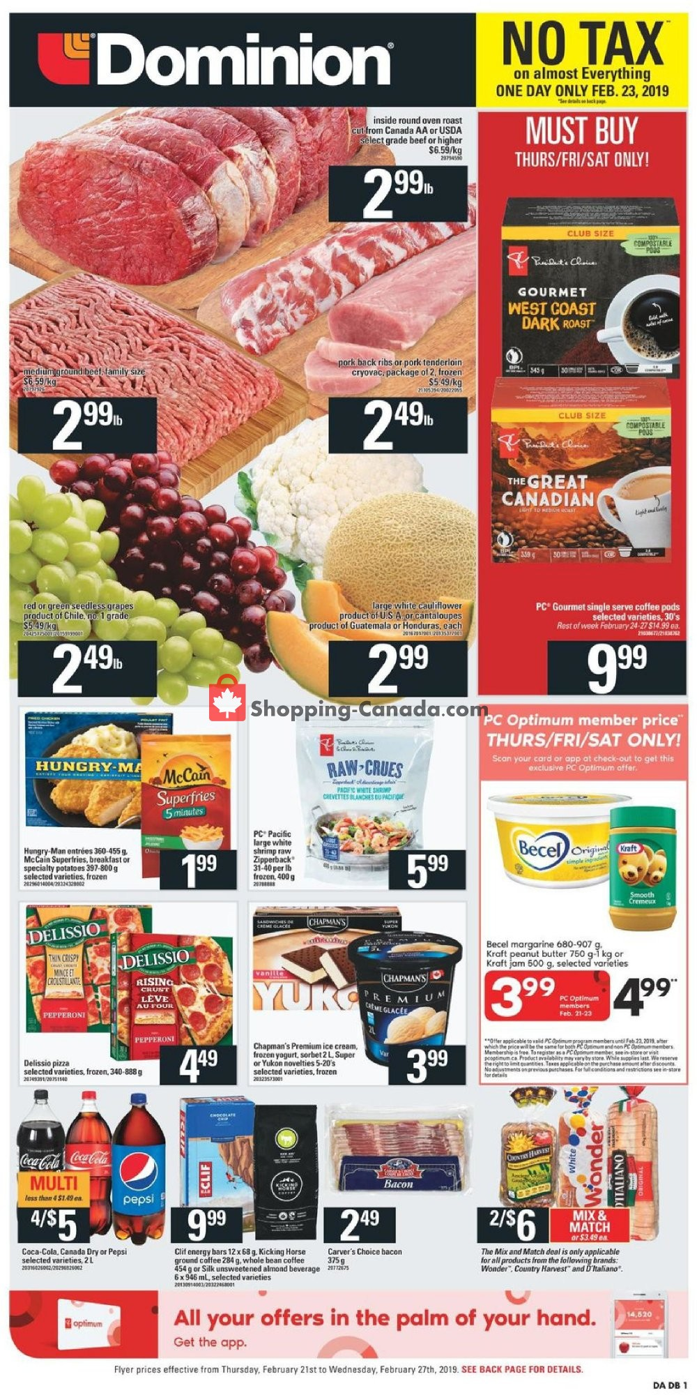 Flyer Dominion Canada - from Thursday February 21, 2019 to Wednesday February 27, 2019