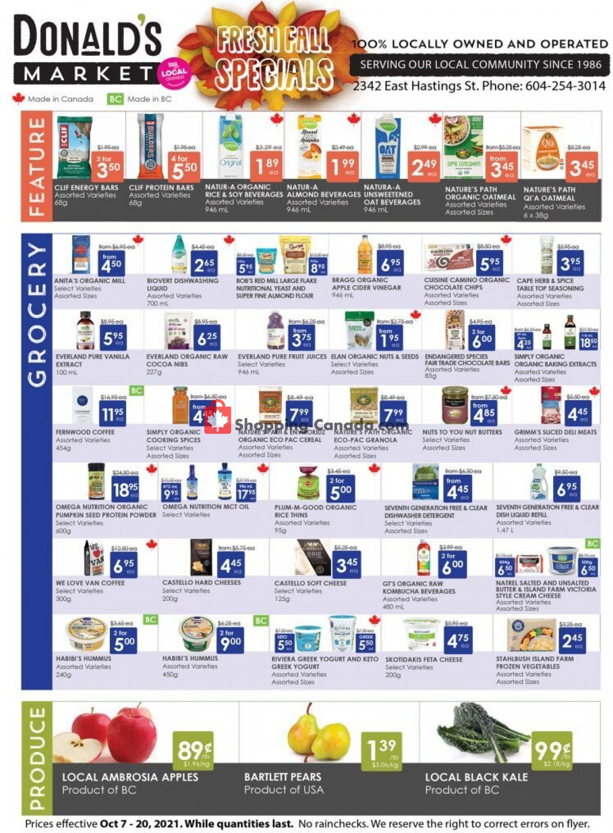 Flyer Donald's Market Canada - from Thursday October 7, 2021 to Wednesday October 20, 2021