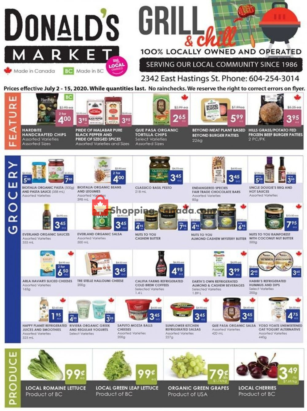 Flyer Donald's Market Canada - from Thursday July 2, 2020 to Wednesday July 15, 2020