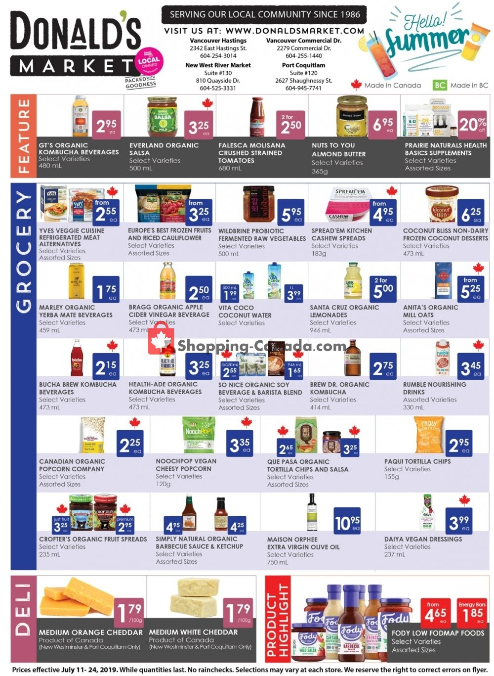 Flyer Donald's Market Canada - from Thursday July 11, 2019 to Wednesday July 24, 2019