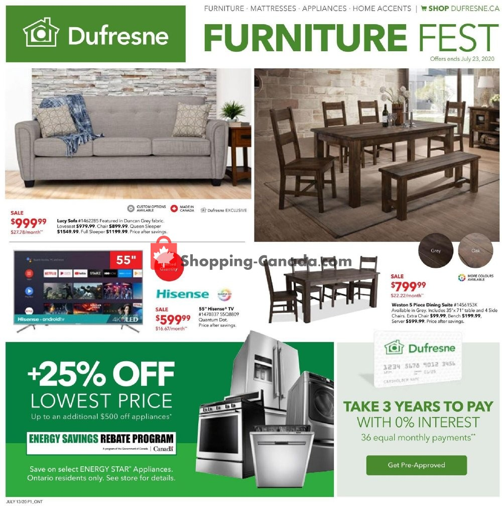 Flyer Dufresne Canada - from Monday July 13, 2020 to Thursday July 23, 2020