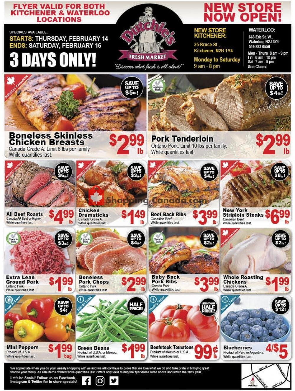 Flyer Dutchie's Fresh Market Canada - from Thursday February 14, 2019 to Saturday February 16, 2019