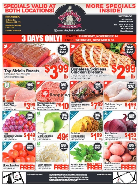 Flyer Dutchie's Fresh Market Canada - from Thursday November 14, 2019 to Saturday November 16, 2019