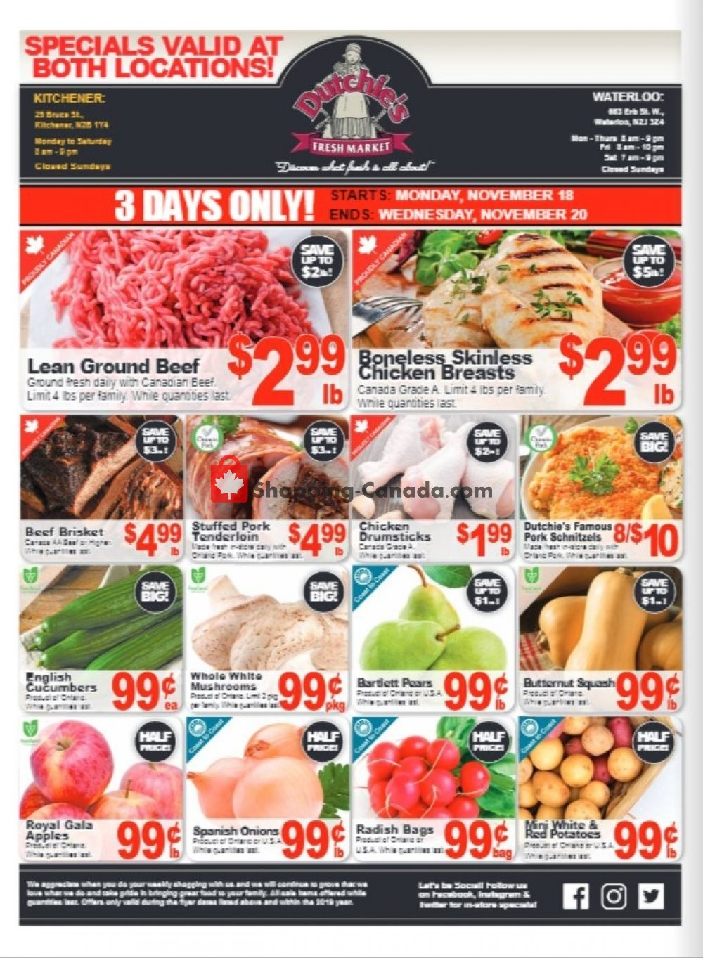 Flyer Dutchie's Fresh Market Canada - from Thursday November 14, 2019 to Saturday November 16, 2019
