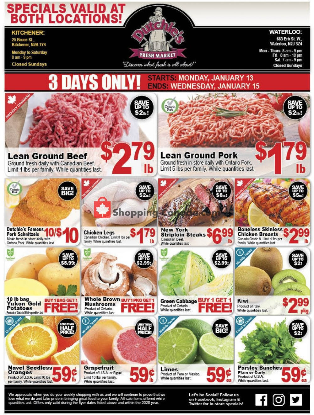 Flyer Dutchie's Fresh Market Canada - from Monday January 13, 2020 to Wednesday January 15, 2020