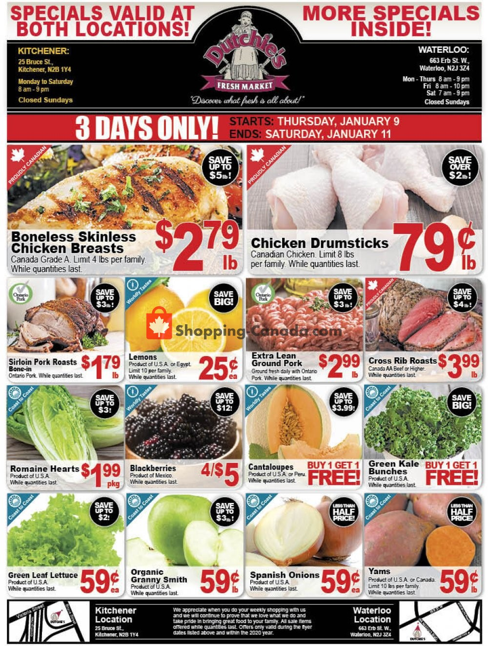 Flyer Dutchie's Fresh Market Canada - from Thursday January 9, 2020 to Saturday January 11, 2020