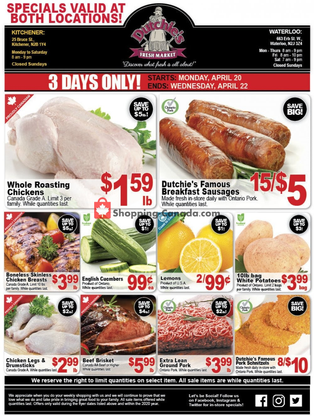 Flyer Dutchie's Fresh Market Canada - from Monday April 20, 2020 to Wednesday April 22, 2020