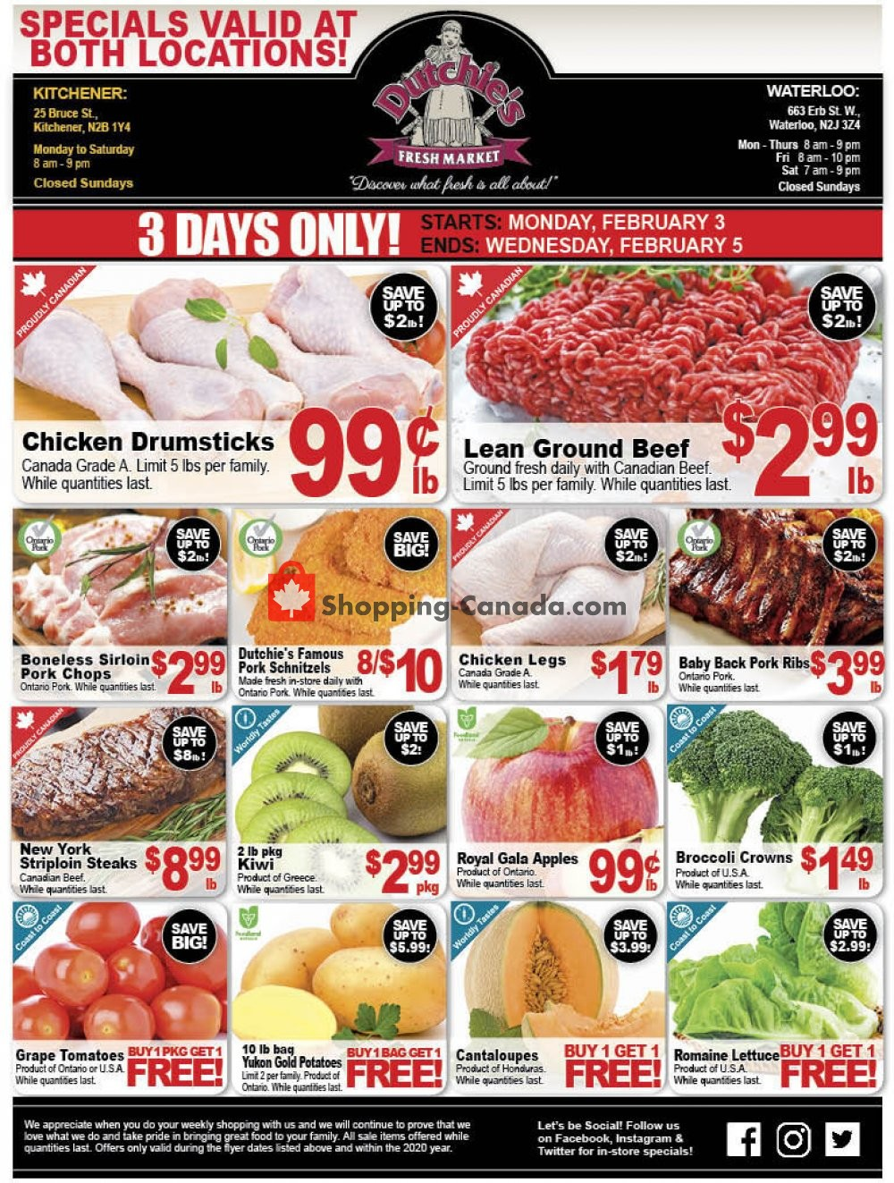 Flyer Dutchie's Fresh Market Canada - from Monday February 3, 2020 to Wednesday February 5, 2020