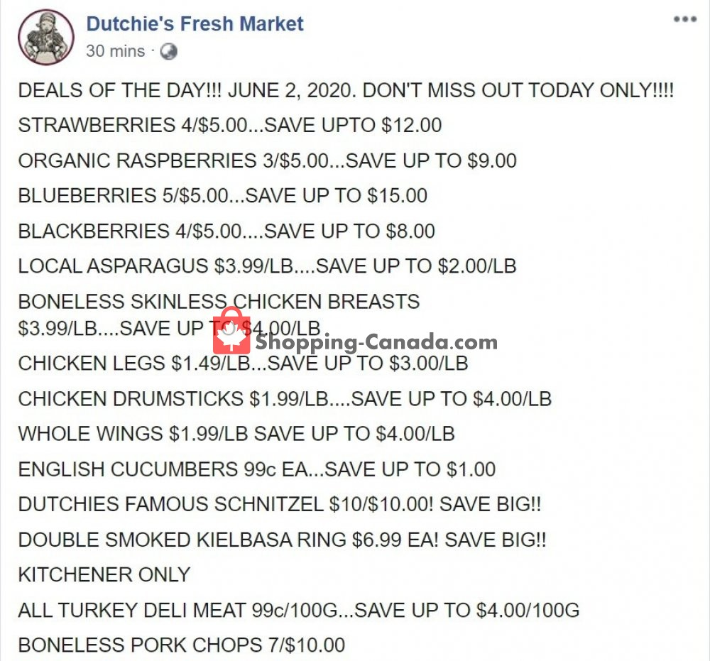 Flyer Dutchie's Fresh Market Canada - from Tuesday June 2, 2020 to Tuesday June 2, 2020