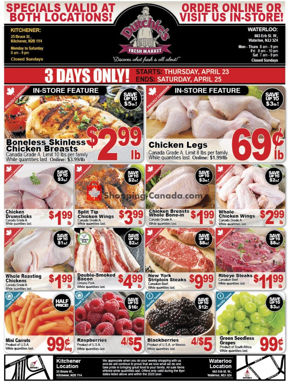 Flyer Dutchie's Fresh Market Canada - from Thursday April 23, 2020 to Saturday April 25, 2020