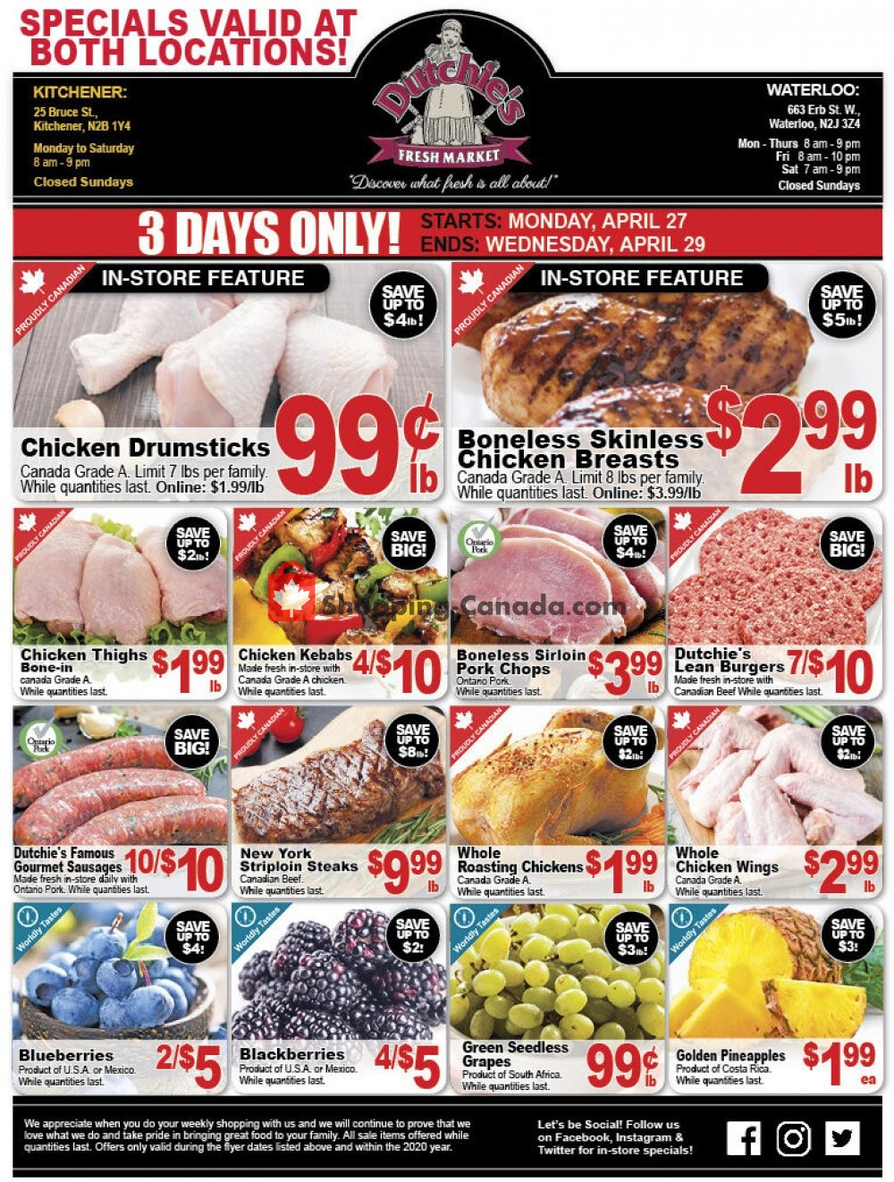 Flyer Dutchie's Fresh Market Canada - from Monday April 27, 2020 to Wednesday April 29, 2020