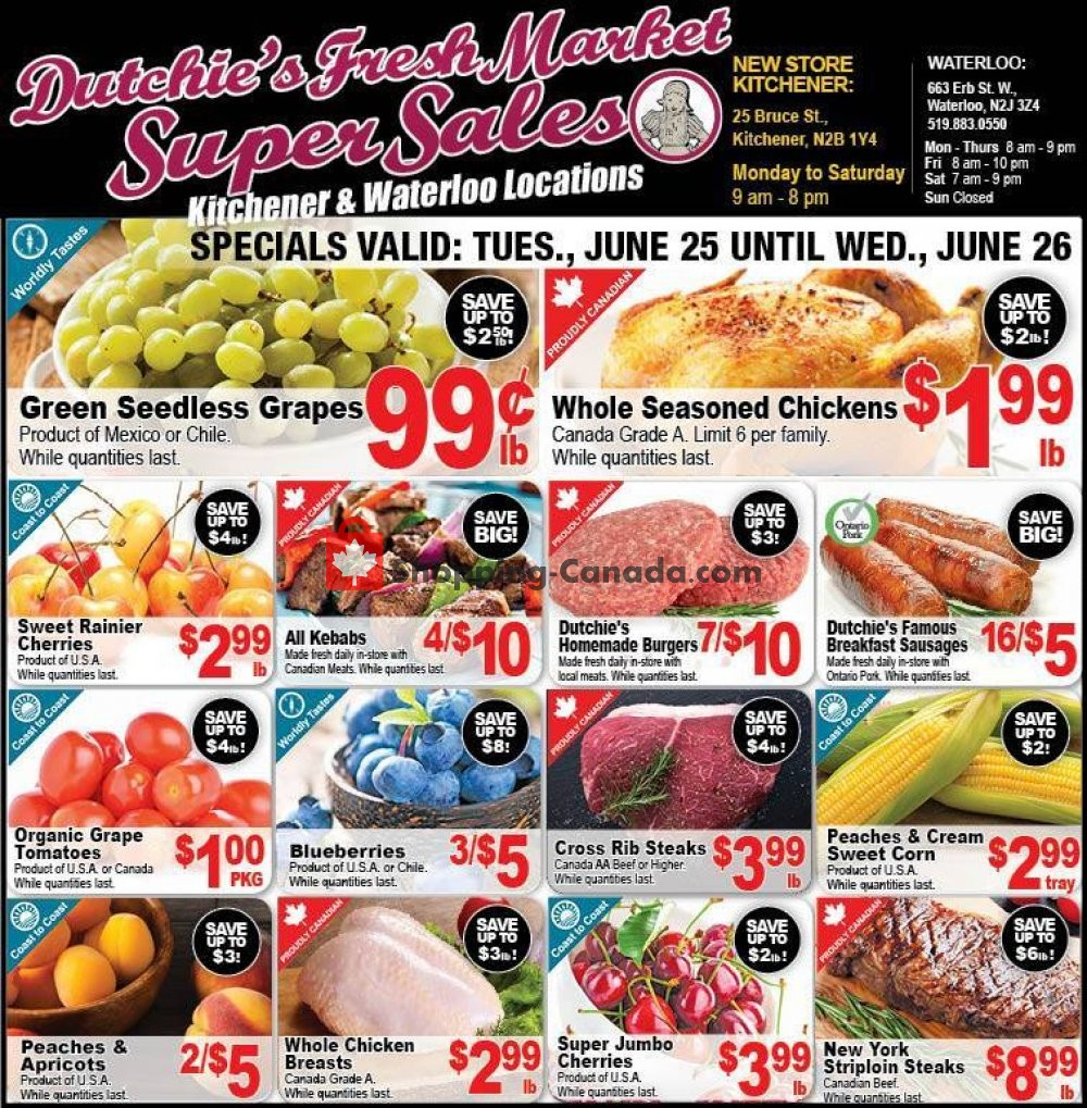 Flyer Dutchie's Fresh Market Canada - from Tuesday June 25, 2019 to Wednesday June 26, 2019