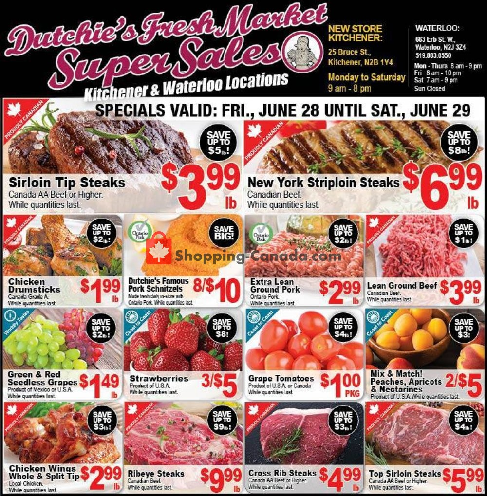Flyer Dutchie's Fresh Market Canada - from Friday June 28, 2019 to Saturday June 29, 2019