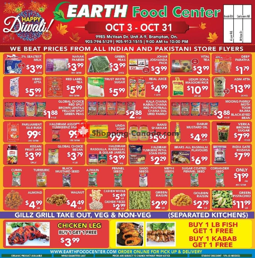 Flyer Earth Food Center Canada - from Thursday October 3, 2019 to Thursday October 31, 2019