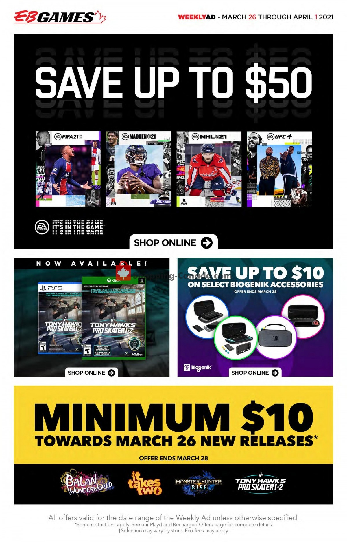 Flyer EB Games Canada - from Friday March 26, 2021 to Thursday April 1, 2021