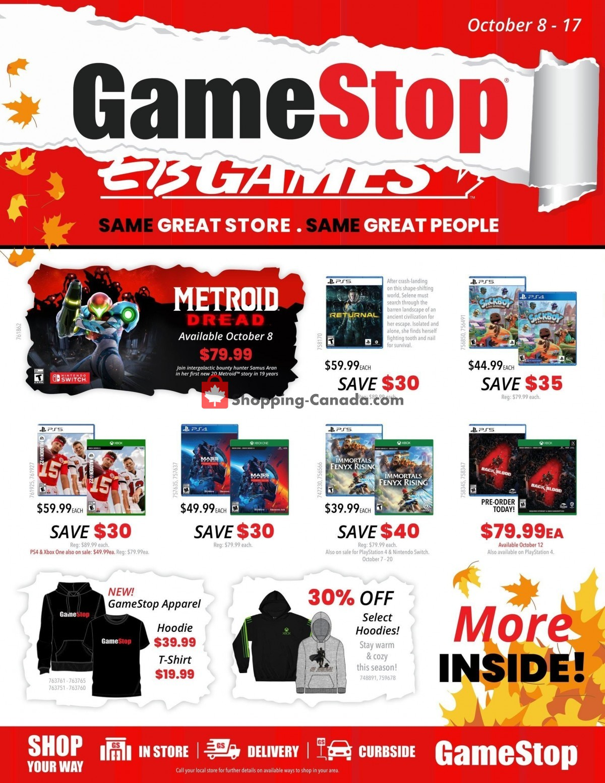 Flyer EB Games Canada - from Friday October 8, 2021 to Sunday October 17, 2021