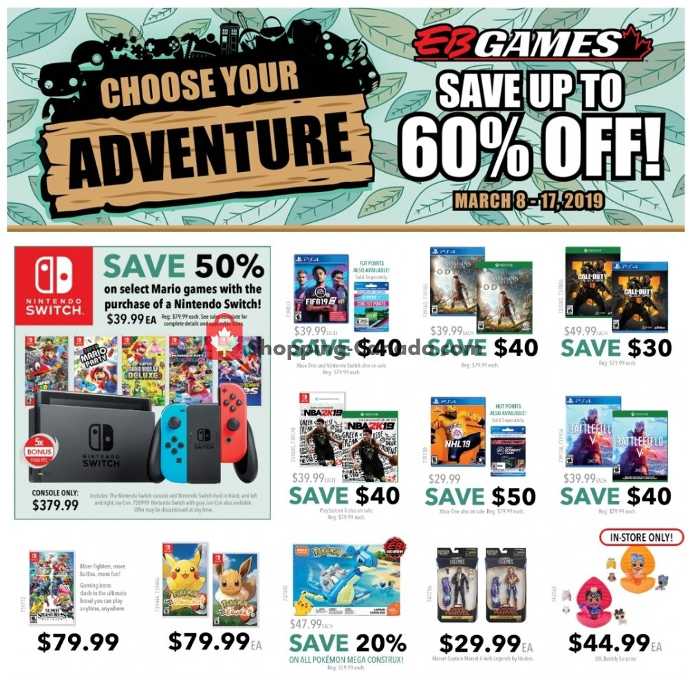 Flyer EB Games Canada - from Friday March 8, 2019 to Sunday March 17, 2019